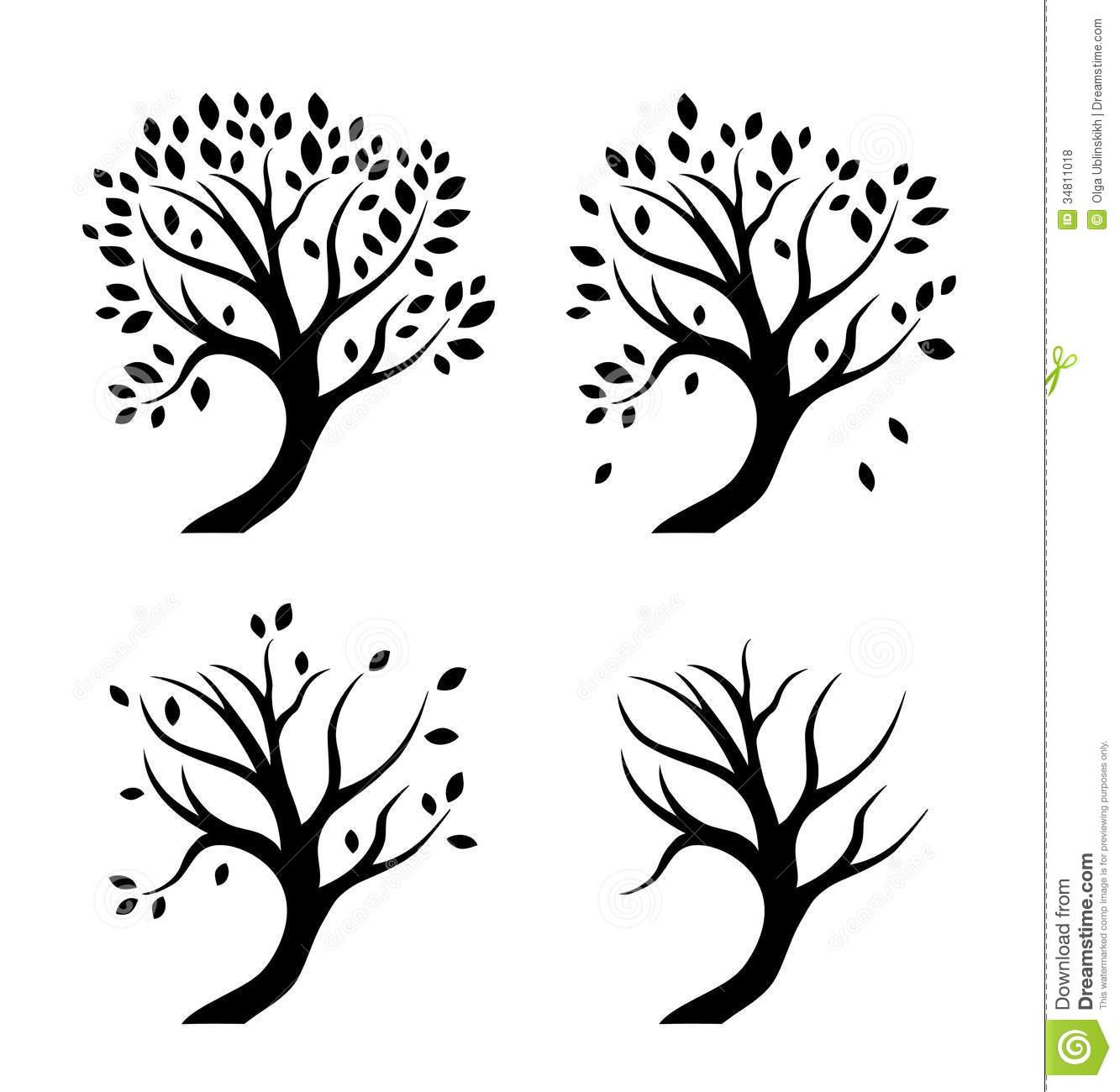 Seasons Tree Clipart Black And White 4