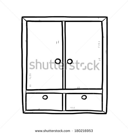 Wooden Wardrobe   Cartoon Vector And Illustration Black And White