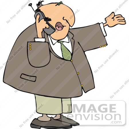 Aged Caucasian Business Man Talking On A Cell Phone Clipart By Djart