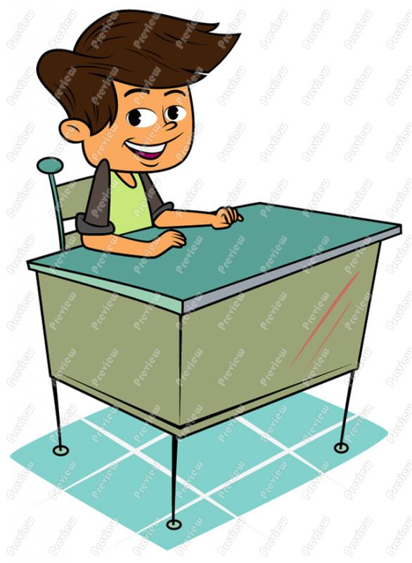 Boy At Desk Clipart Boy Child Sitting At Desk
