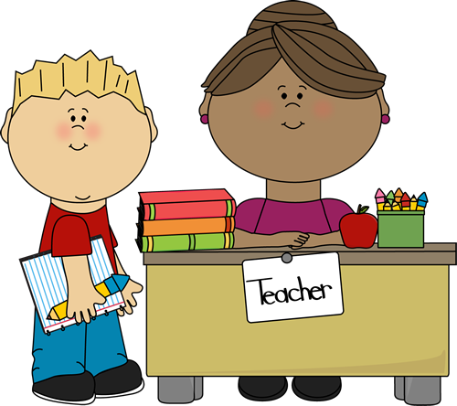 Boy At Teacher S Desk Clip Art   Boy At Teacher S Desk Vector Image