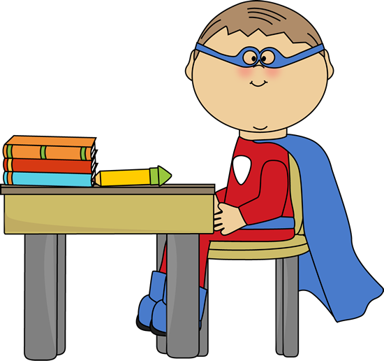 Boy Superhero At School Desk Clip Art   Boy Superhero At School Desk