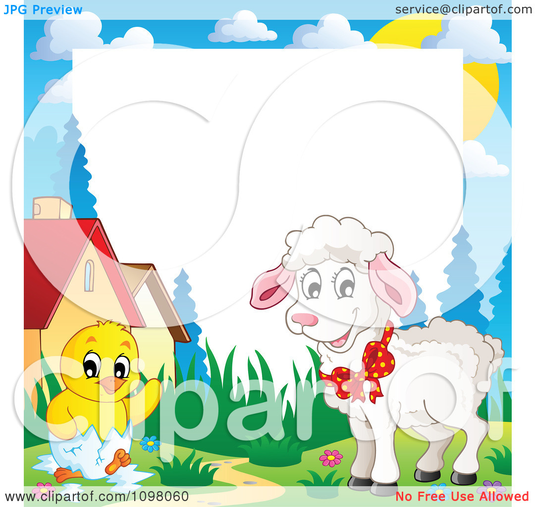 Clipart Easter Frame With A Cute White Lamb And Hatching Chick Around