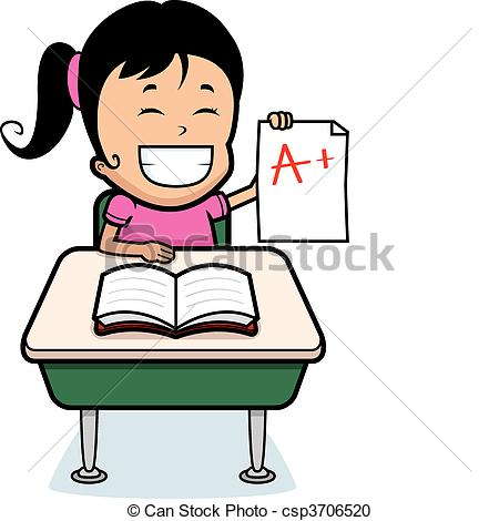 Clipart Of Student Grades   A Happy Cartoon Girl Student With Good