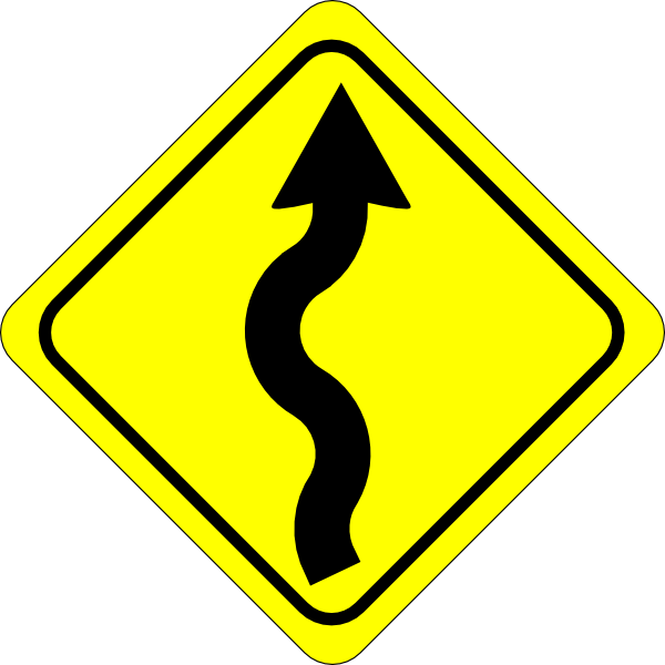 Curvy Road Ahead Sign Clip Art At Clker Com   Vector Clip Art Online