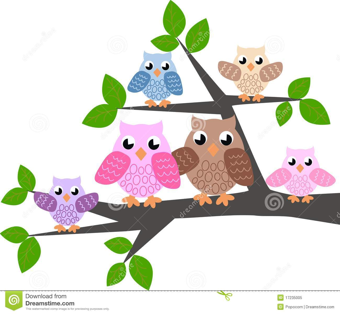 Cute Owl On Tree Clipart A Cute Owl Family Royalty Free