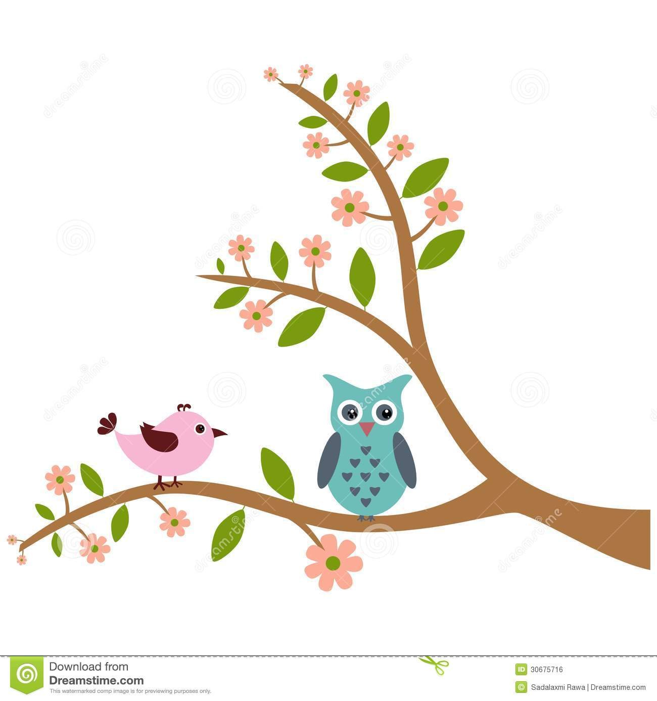 Cute Tree Clipart Cute Bird And Owl With Tree
