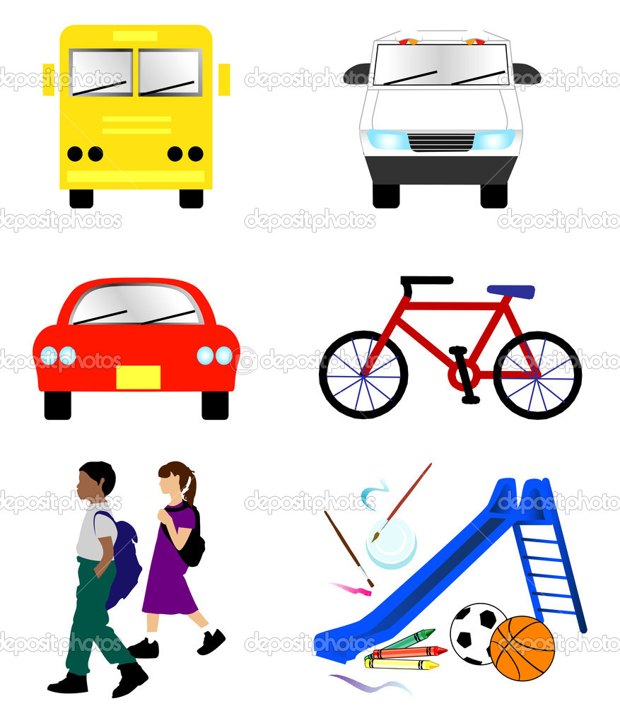 Daycare Van Clipart Depositphotos 6392298 School Transportation Icons