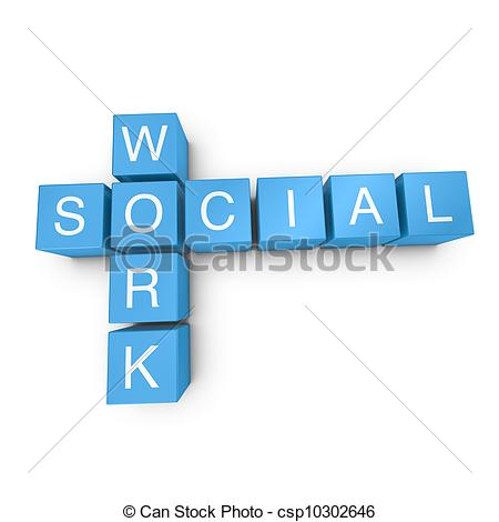 Drawing Of Social Work 3d Crossword On White Background   Social Work