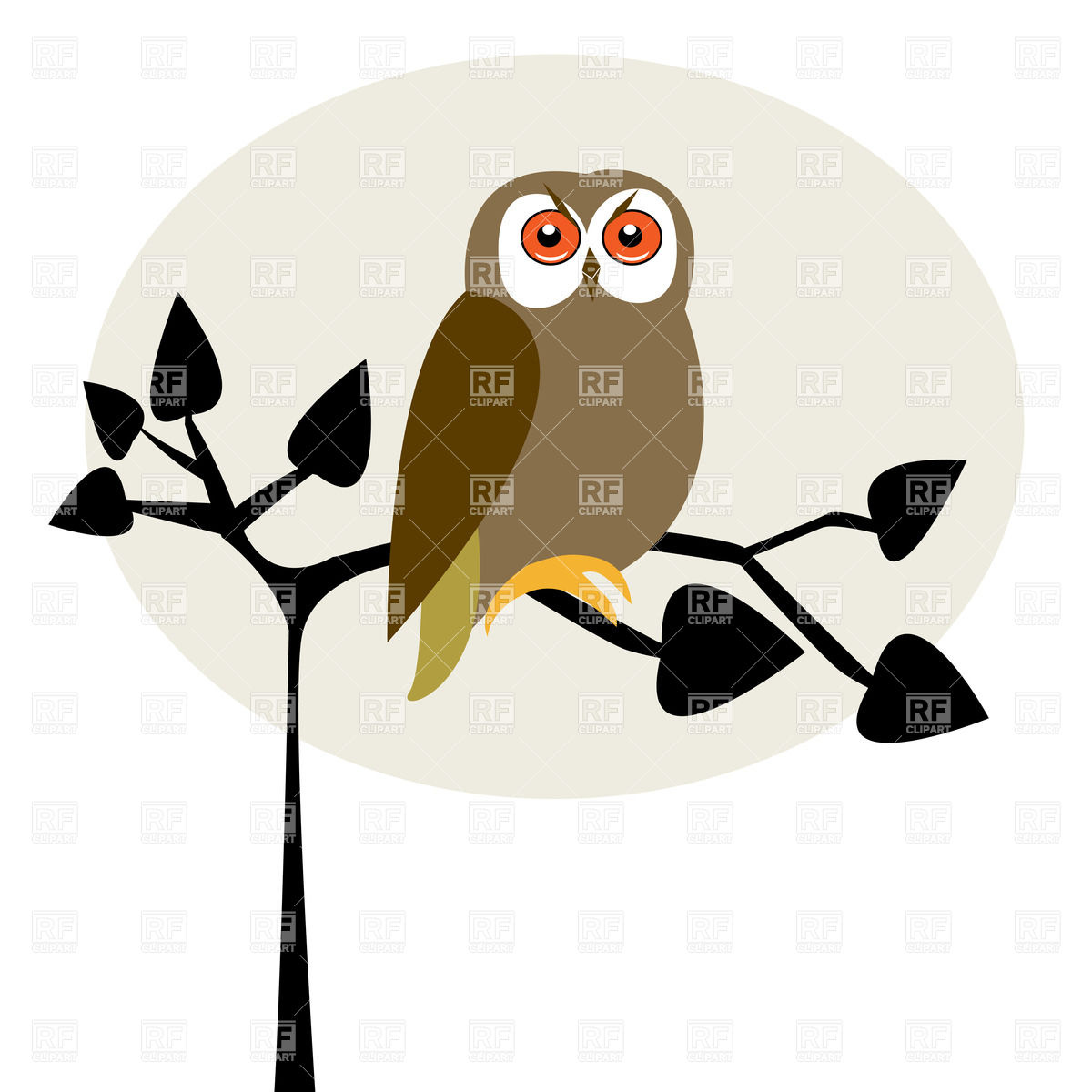 Funny Owl On Tree Download Royalty Free Vector Clipart  Eps