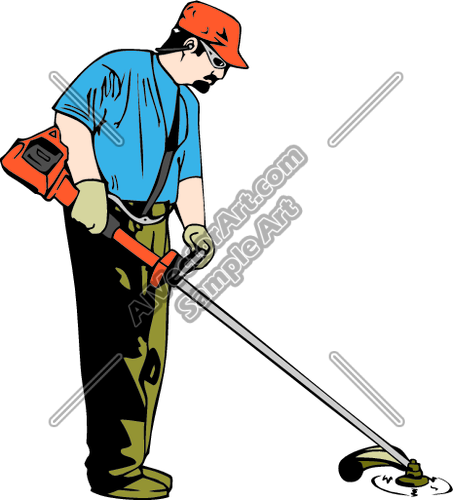 Landscaper With Weed Wacker Trimmer Clipart And Vectorart  Occupations