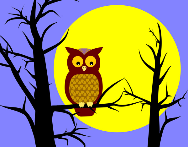 Owl In Tree   Free Clip Art