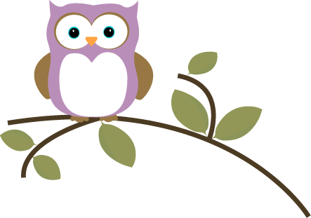 Owl On A Leafy Branch Clip Art Image   Cute Purple Owl Sitting On A