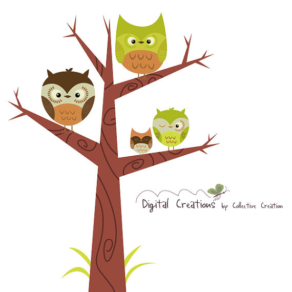 Owl Tree Digital Clipart Clip Art Set   Personal And Commercial Use