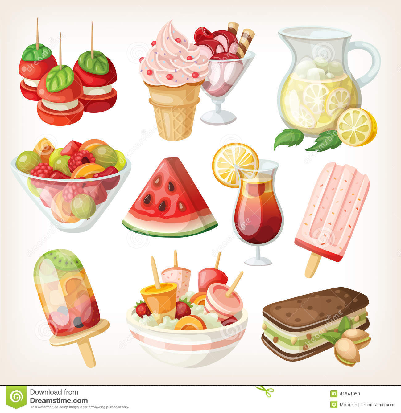 Set Of Cold Sweet Summer Food Stock Vector   Image  41841950