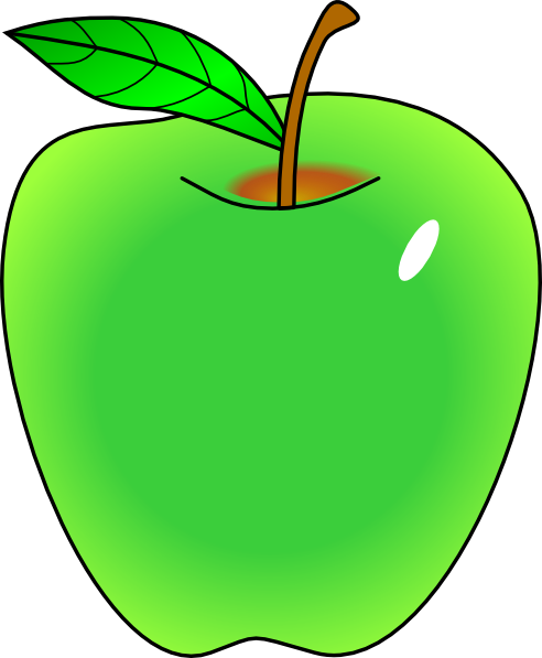 Shaded Green Apple Clip Art At Clker Com   Vector Clip Art Online