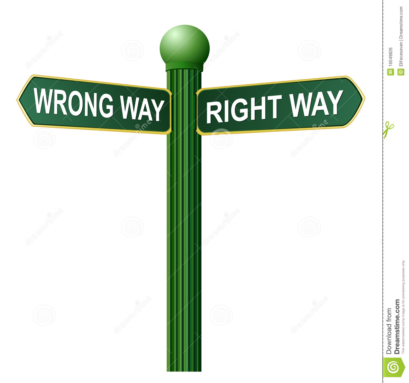 Wrong Way Right Way Street Sign Royalty Free Stock Image   Image
