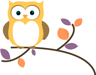 Yellow Owl On A Branch Clip Art Image   Yellow Owl On A Tree Branch