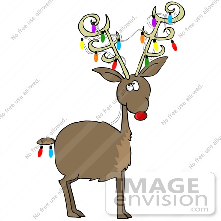 36946 Clip Art Graphic Of Rudolph The Red Nosed Reindeer Decorated