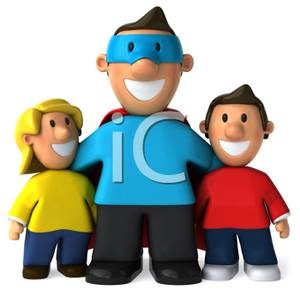 Clipart Image Of A Superhero Dad With His Arms Around His Two Kids