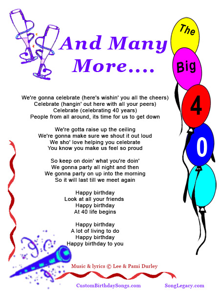 Happy 40th Birthday Song   Original Birthday Song From Song Legacy