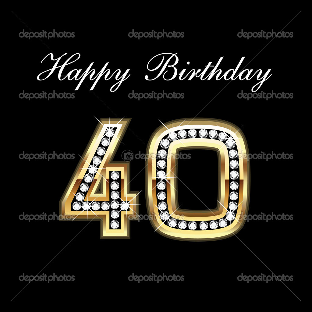 Happy Birthday 40th   Stock Vector   Deskcube  7134391