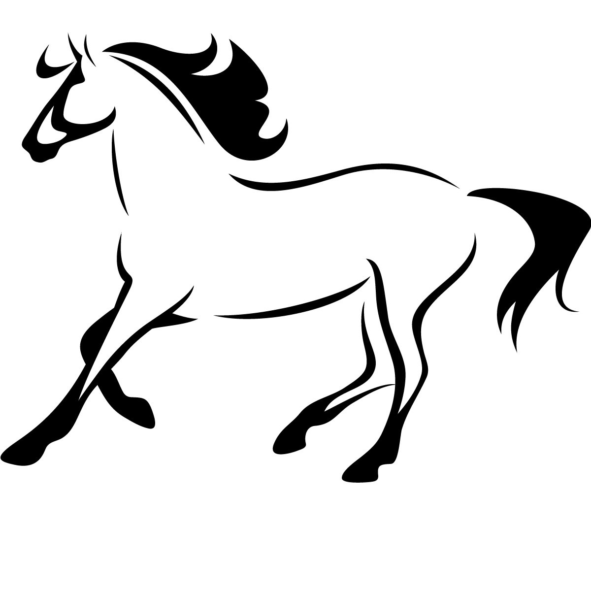 Horse Outline Running Animals Wall Art Decal Wall Stickers Transfers