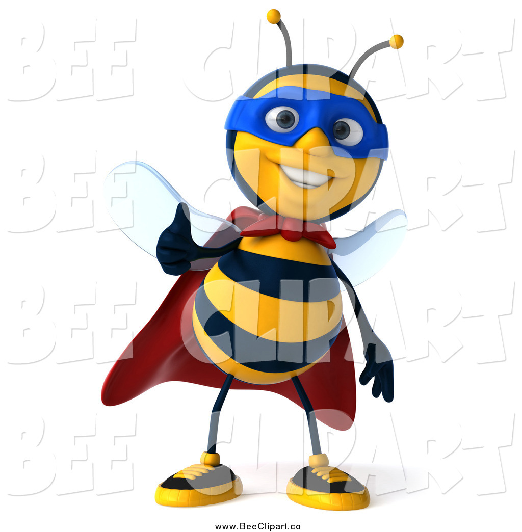 Larger Preview  Clip Art Of A 3d Bee Super Hero Holding A Thumb Up By
