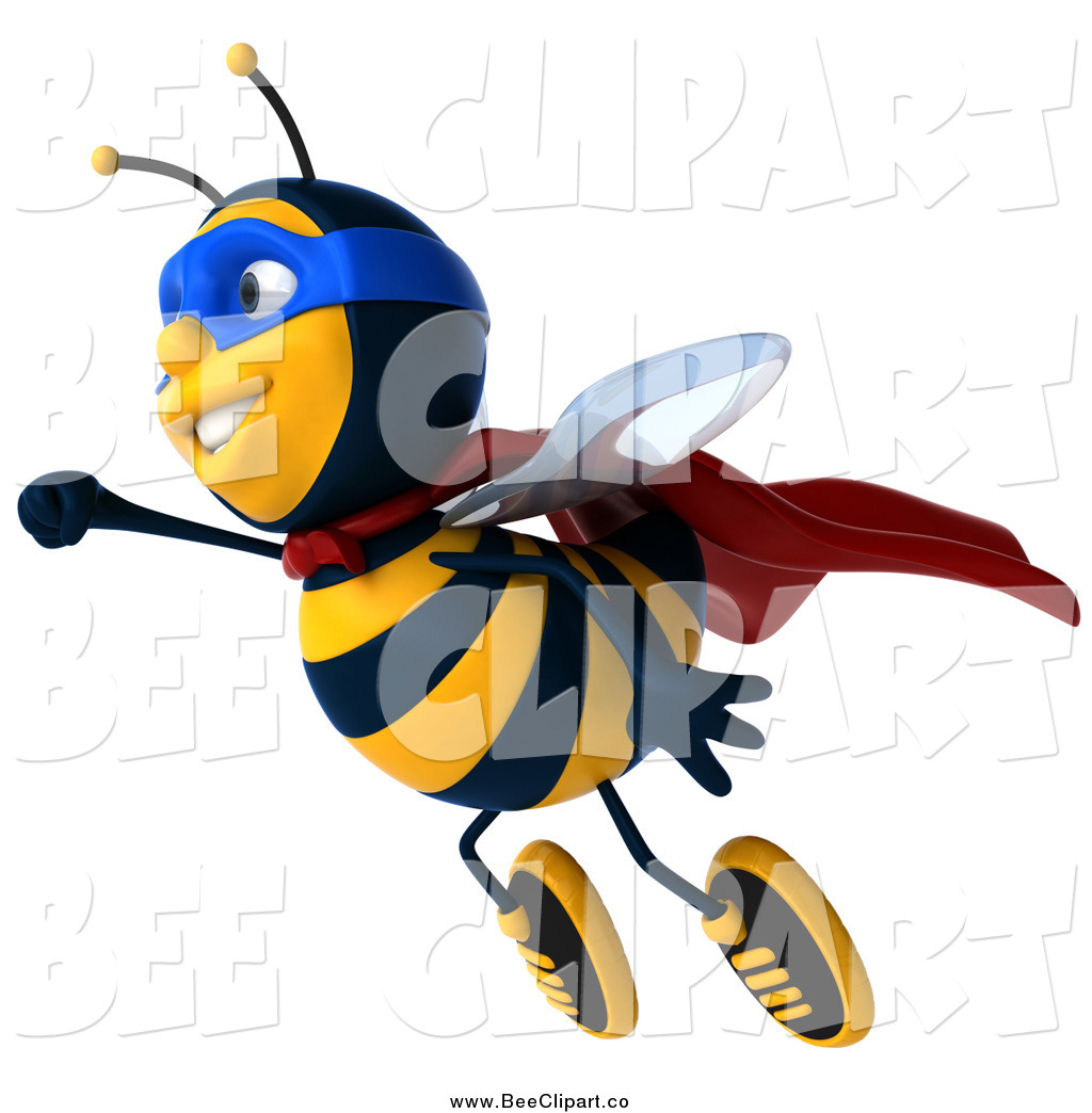 Larger Preview  Clip Art Of A 3d Super Hero Honey Bee Flying By Julos