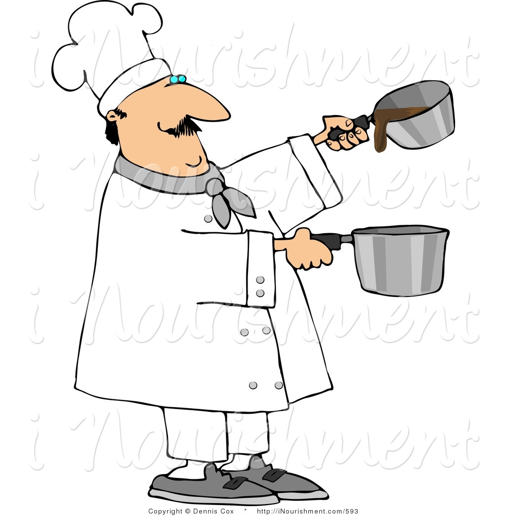 Pin Clipart Professional Male Chef Making Gravy Two Saucepans Cake On