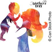 Watercolor Mother Silhouette With Her Baby  Stock Illustration