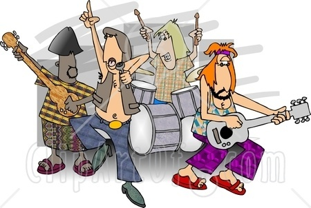 5058 Rock And Roll Band Members Playing Music Clipart Jpg