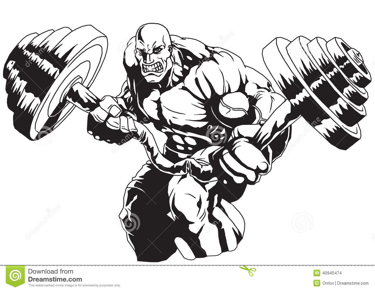Bodybuilder Flex Heavy Barbell Isolated On A White Illustration Vector