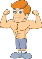 Bodybuilder With Muscles Cartoon Clipart