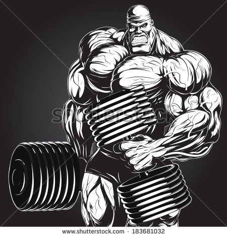 Bodybuilding Logos Graphic Design Ferocious Bodybuilder With