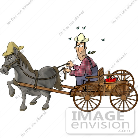 Chewing On Straw While Riding A Horse Drawn Carriage Clipart By Djart