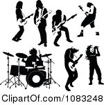 Clipart Black And White Rock And Roll Musicians Royalty Free Vector