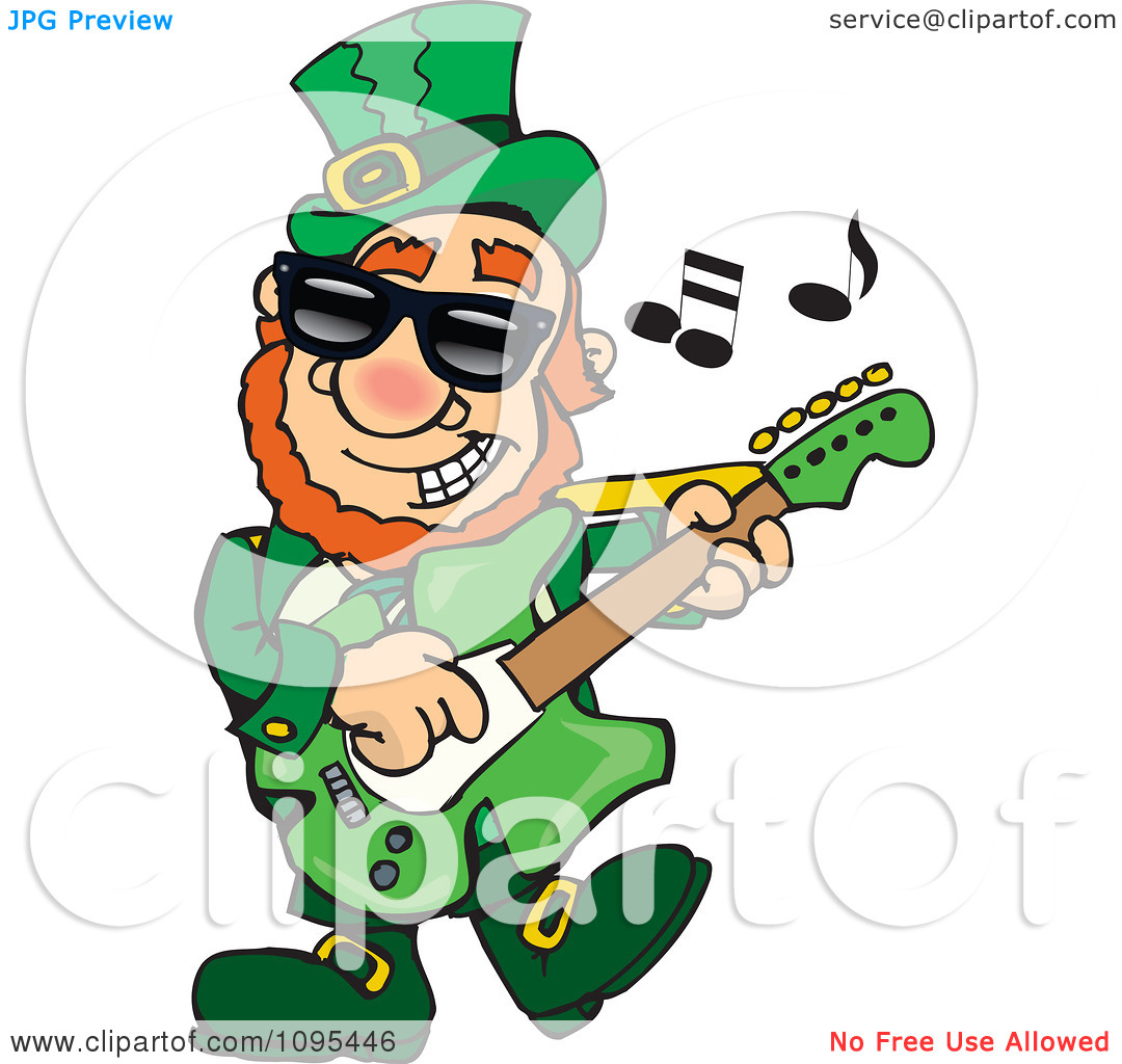 Clipart St Patricks Day Leprechaun Playing Rock And Roll St Patrock