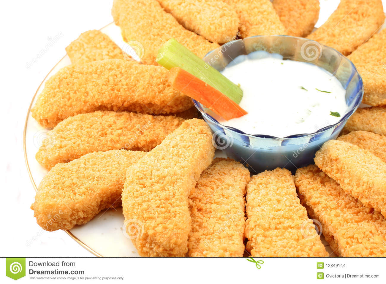Crispy Chicken Fingers With Vegetables And Dip On A White Background