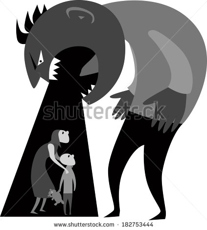 Domestic Abuse Male Monster Yelling At Woman And Child Illustration
