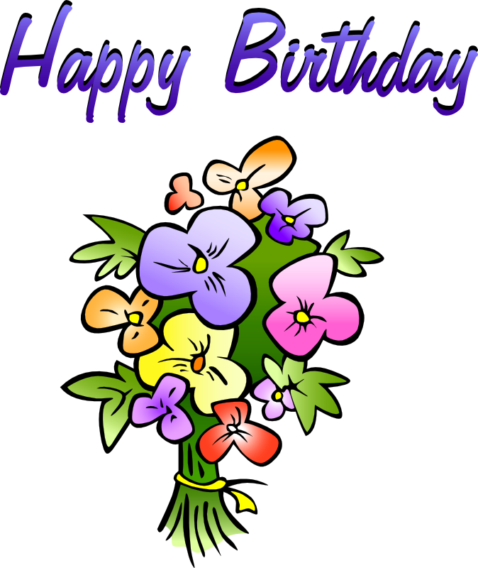 Free Birthday Greetings With Flowers Clip Art