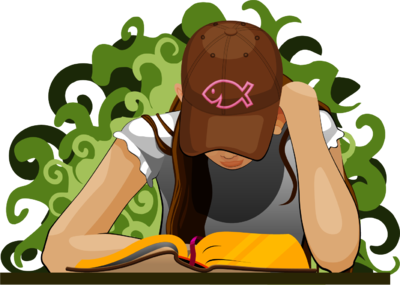 Girl Reading Bible Illustration