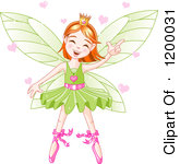 Happy Dancing Fairy Ballerina With Red Hair A Green Tutu And Hearts By