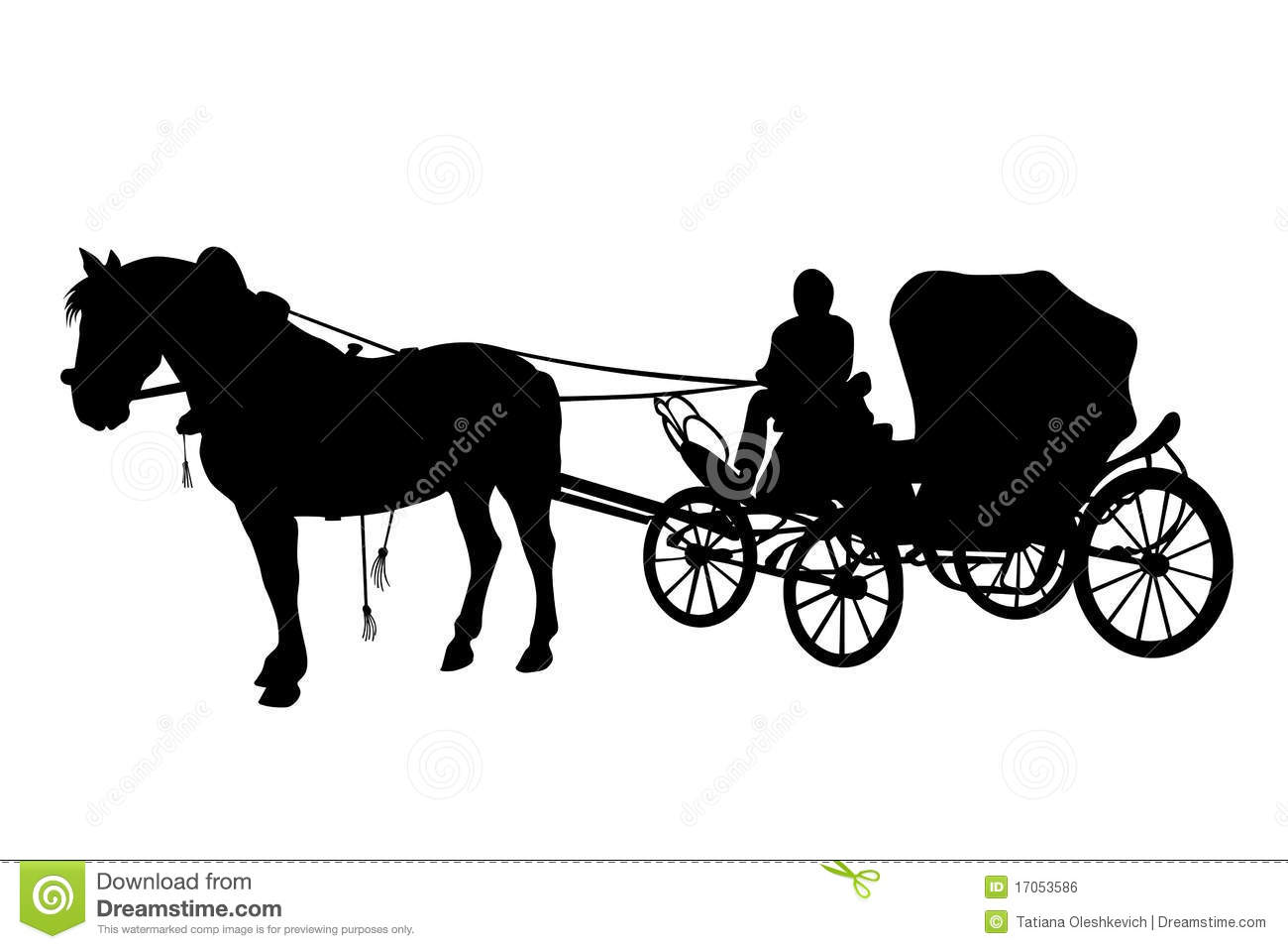 Horse And Carriage Black Silhouettes Royalty Free Stock Image   Image