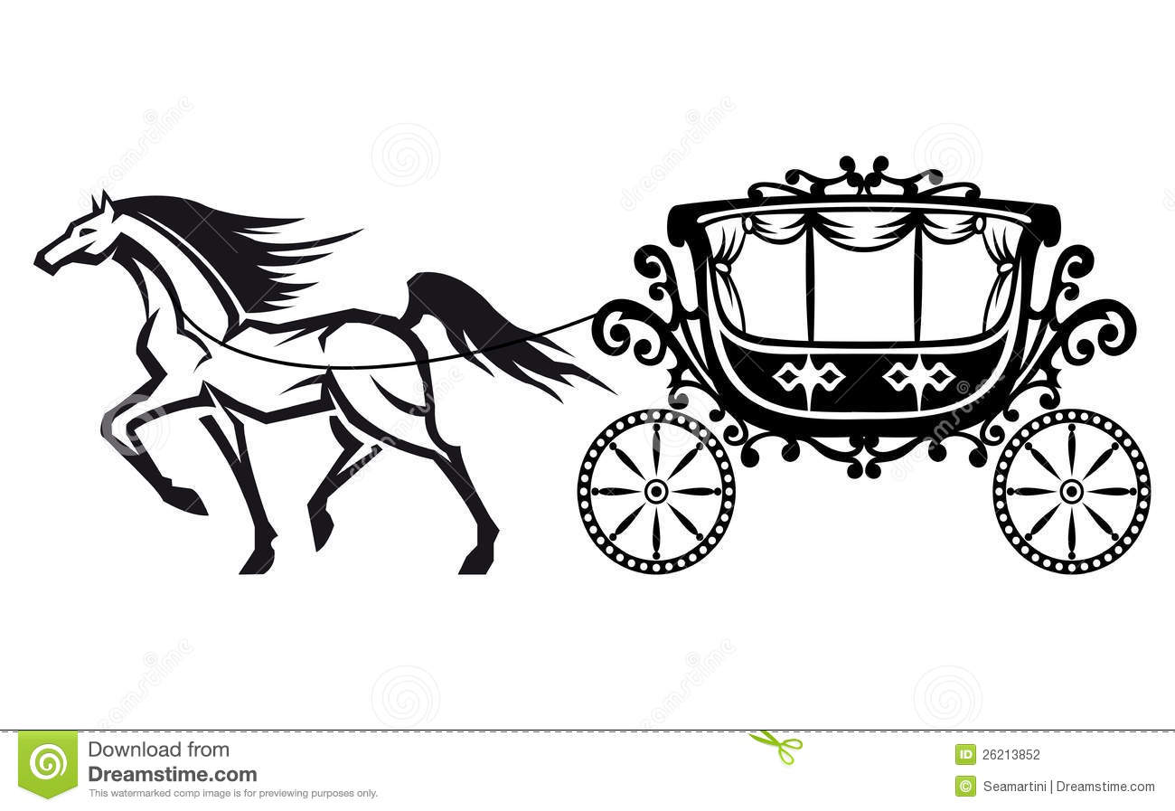 Horse Carriage Clipart Horse With Vintage Carriage