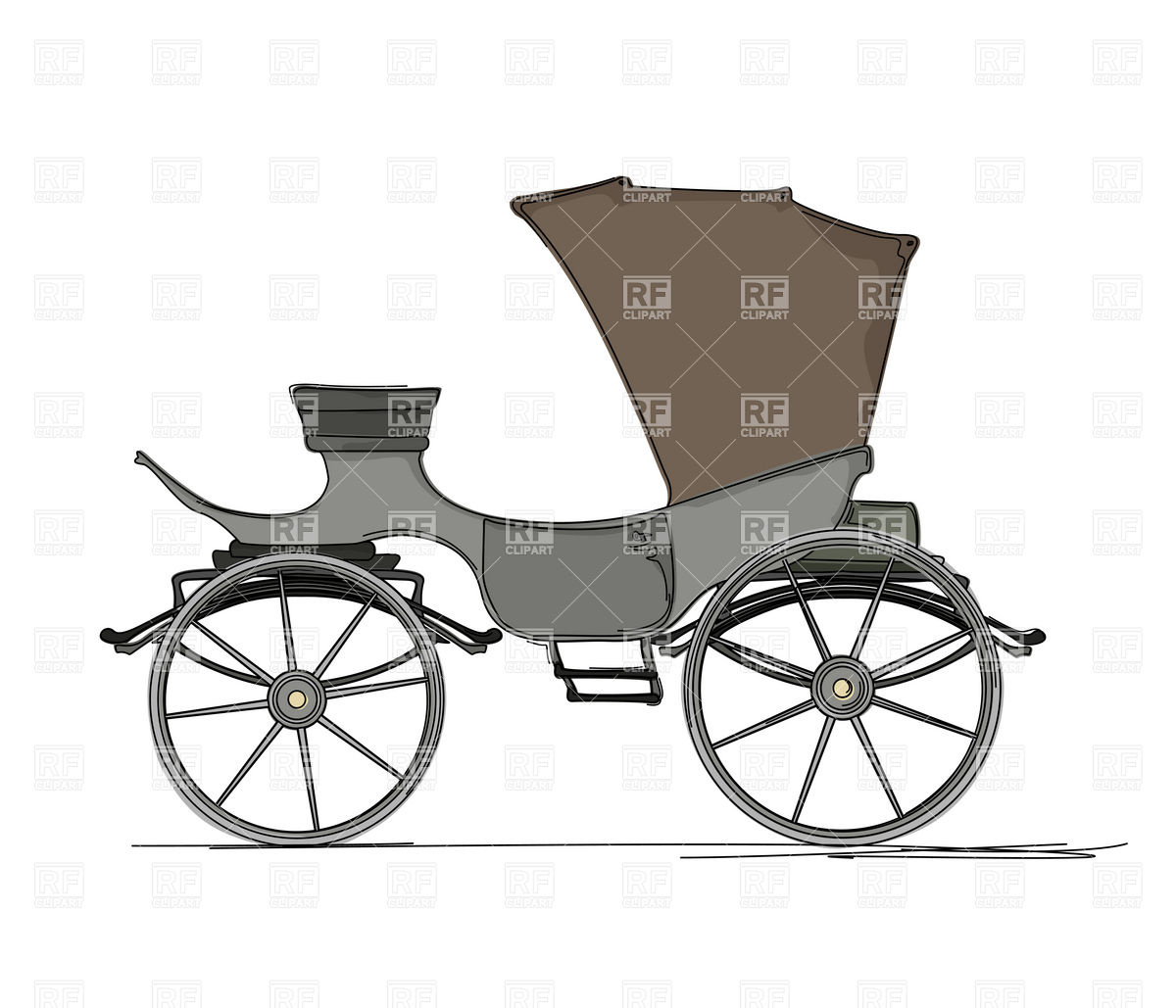 Horse Drawn Cartoon Carriage   Side View Download Royalty Free Vector