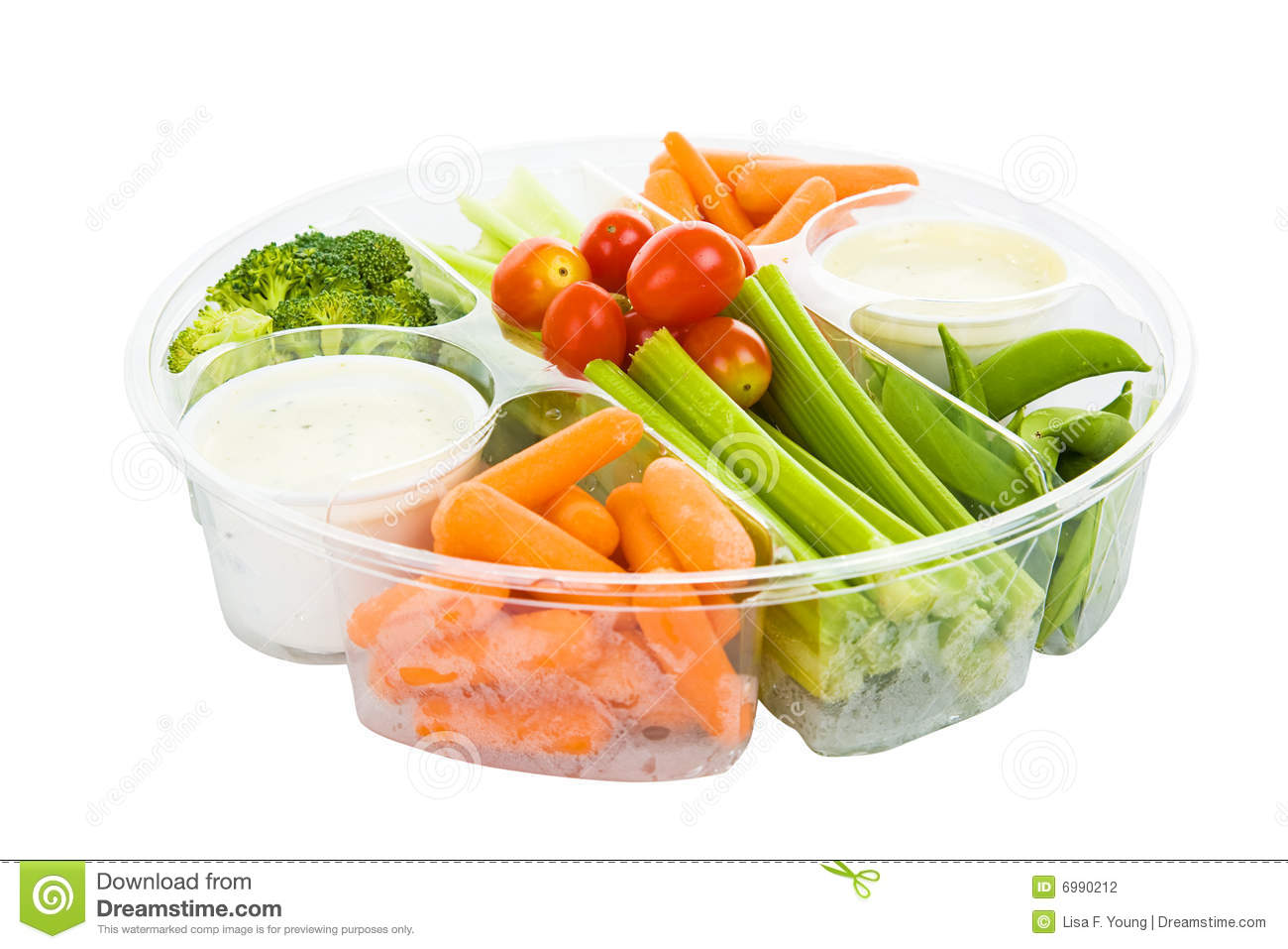 Isolated Tray Of Raw Vegetables And Dip With Clipping Path