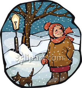 Man Walking His Dog In The Snow   Royalty Free Clipart Picture