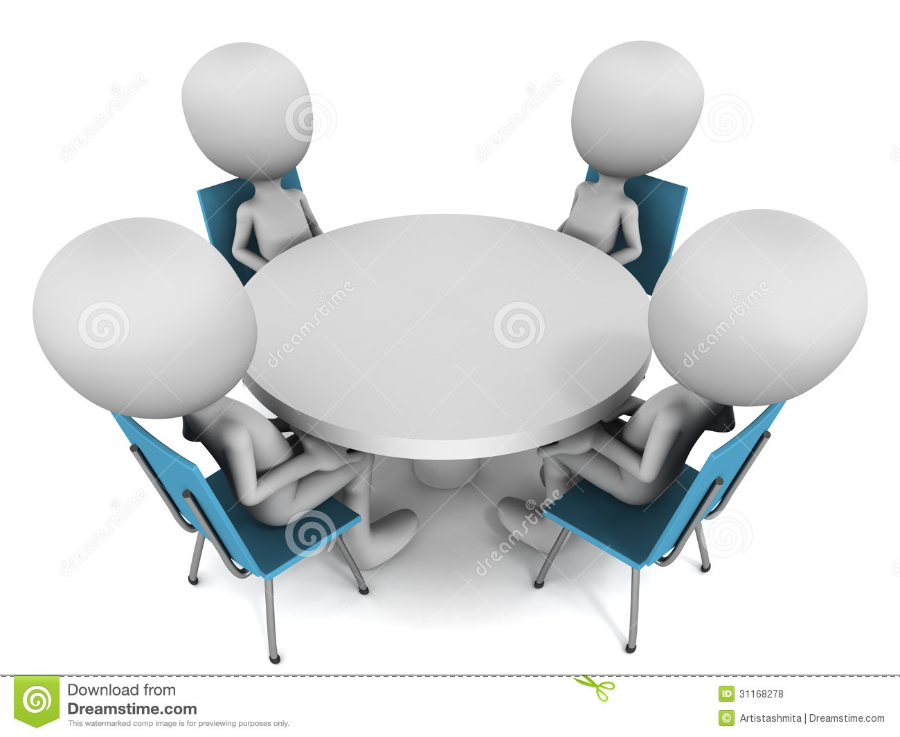 Men Sitting On Round Table Meeting White Background Round Table