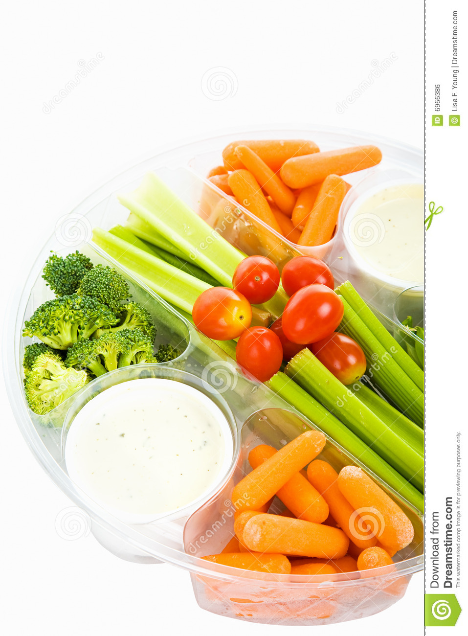 Party Tray Of Fresh Veggies And Dip Isolated On White With Clipping